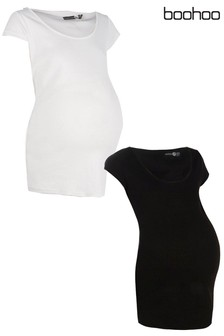Boohoo Maternity Mila 2 Pack Ribbed Over The Bump T-Shirt