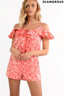 Glamorous Petite Cold Shoulder Printed Playsuit