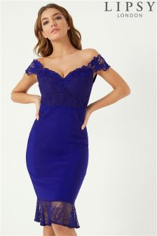 Lipsy Lace Bardot Bodycon Dress