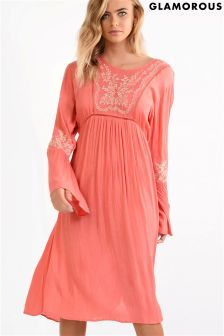 Glamorous Smock Embroidered Midi Dress