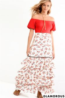 Glamorous Tiered Printed Maxi Skirt
