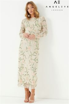 Angeleye Long Sleeve Embellished Maxi Dress