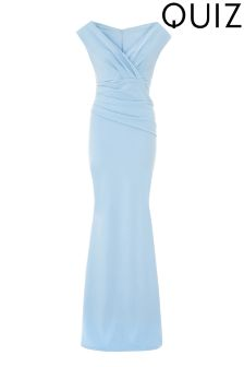 Quiz Bardot Wrap Front Fishtail Maxi Dress