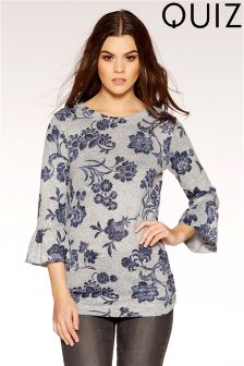 Quiz Printed Frill Sleeve Top