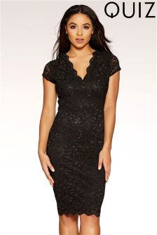 Quiz Sequin Lace Scalloped Detail Pencil Dress