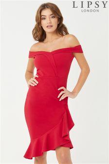 Lipsy Bardot Ruffle Hem Bodycon Dress