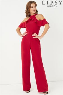 Lipsy Ruffle Front Halterneck Jumpsuit