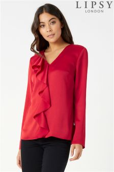Lipsy Ruffle Front Long Sleeve Blouse