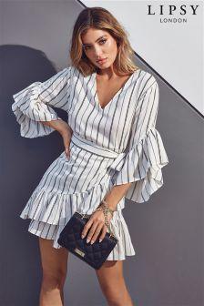 Lipsy Stripe Ruffle Mini Wrap Dress