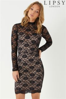 Lipsy High Neck All Over Lace Bodycon Dress