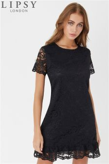 Lipsy All Over Lace Flute Hem Shift Dress