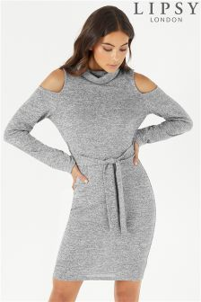 Lipsy Roll Neck Cold Shoulder Shift Dress