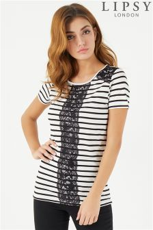 Lipsy Stripe Lace T-Shirt
