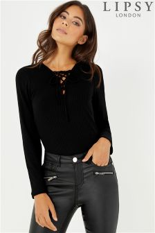 Lipsy Lace Up Front Long Sleeves Rib Top