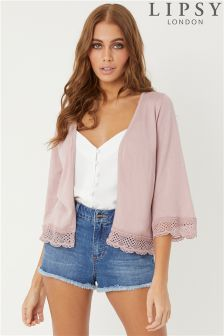Lipsy Lace Trim Crop Cardigan