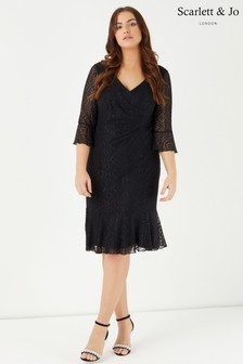 Scarlett & Jo Frill Hem And Sleeve Midi Dress