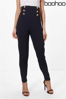 Boohoo Button Front Skinny Trousers