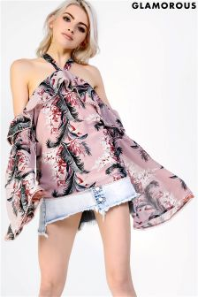 Glamorous Cold Shoulder Printed Top