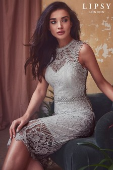 Lipsy Petite VIP Embroidered Lace Midi Dress