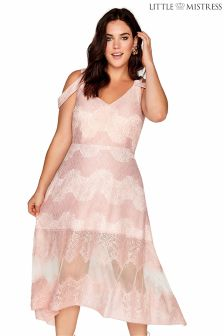 Little Mistress Curve Lace Stripe Midi Dress