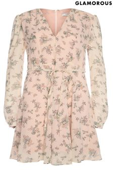 Glamorous Curve Floral Long Sleeved Tea Dress