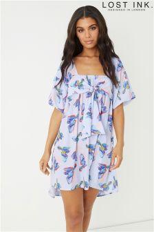 Lost Ink Bubble Sleeve Shift Dress in Bird Print