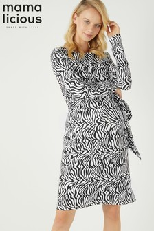 Mamalicious Maternity Long Sleeve Print Dress