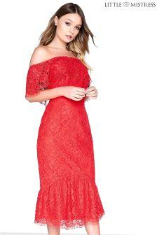 Little Mistress Lace Bardot Bodycon Dress