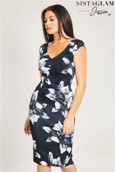 Sistaglam Loves Jessica Floral Print Bardot Bodycon Dress