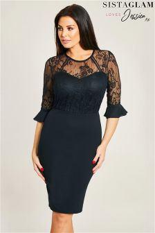 Jessica Wright Frill Sleeve Lace Bodycon Dress