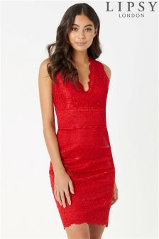 Lipsy All Over Lace V neck Dress