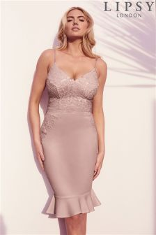 Lipsy Loves Kate Sequin Cami Flute Hem Bodycon Dress
