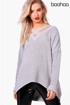 Boohoo Oversized Strap Neck Jumper