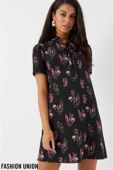 Fashion Union Floral Tie Neck Shift Dress