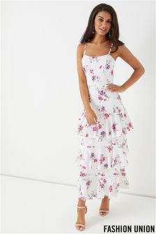 Fashion Union Floral Tiered Ruffle Maxi Dress