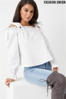 Fashion Union Bow Shoulder Top