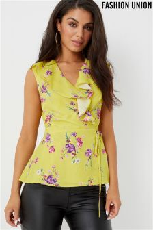 Fashion Union Ruffle Wrap Front Top