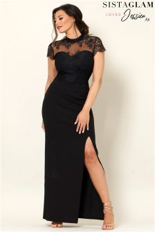 Sistaglam Loves Jessica Scallop Lace Maxi Dress