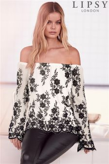 Lipsy Floral Embroidered Bardot Top