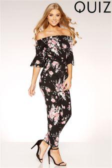 Quiz Floral Print Bardot Frill Sleeve Jumpsuit