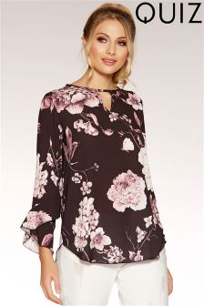 Quiz Floral Print Keyhole Frill Sleeve Top