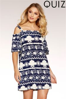 Quiz Textured Strappy Bardot Tunic Dress