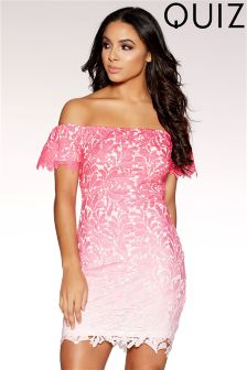 Quiz Crochet Ombre Bardot Bodycon Dress