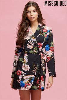 Missguided Floral Wrap Over Tie Side Mini Dress