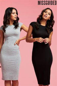 Missguided Cap Sleeve Jersey Midi Dress
