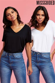 Missguided V neck Boyfriend T-Shirt
