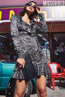 Missguided Polka Dot Ruffle Dress