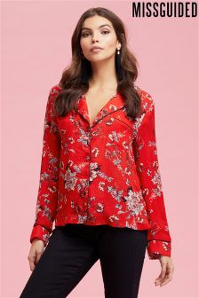 Missguided Floral Print Piping Detail Shirt