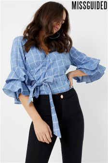 Missguided Check Wrap Frill Sleeve Blouse