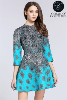 Comino Couture Printed Feather Dress